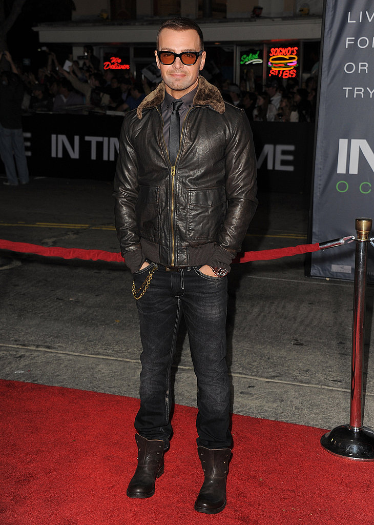 Joey Lawrence wore an aviator jacket to the In Time premiere.