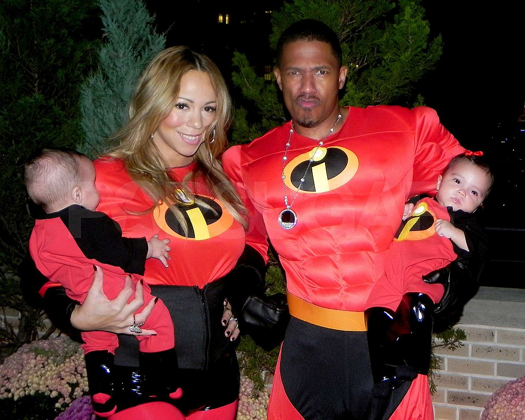 The whole family Mariah, Nick, Moroccan, and Monroe got dressed up in The Incredibles costumes for Halloween.