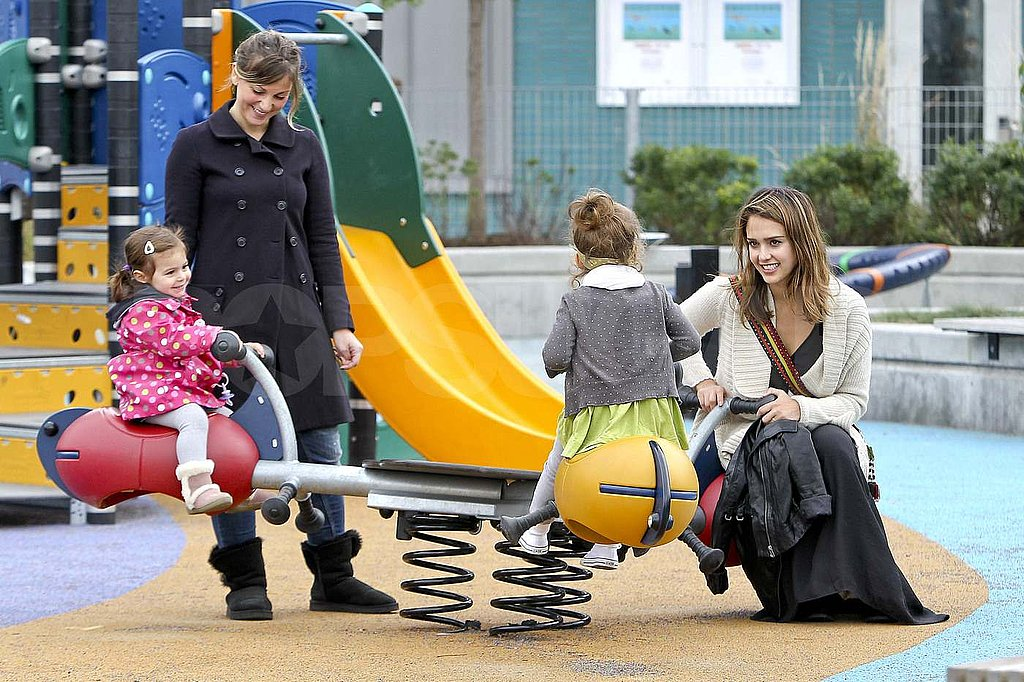 Jessica Alba and Honor Warren at a park in NYC.