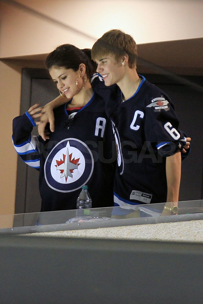 Selena Gomez and Justin Bieber wore matching hockey jerseys.
