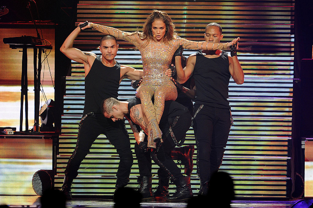 Jennifer Lopez sat on her dancer for a song in Connecticut.