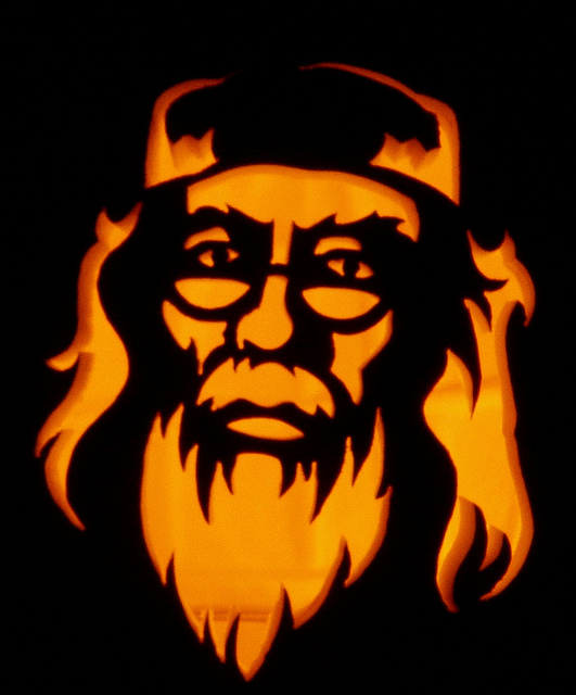 Dumbledore is a stern jack-o'-lantern subject.