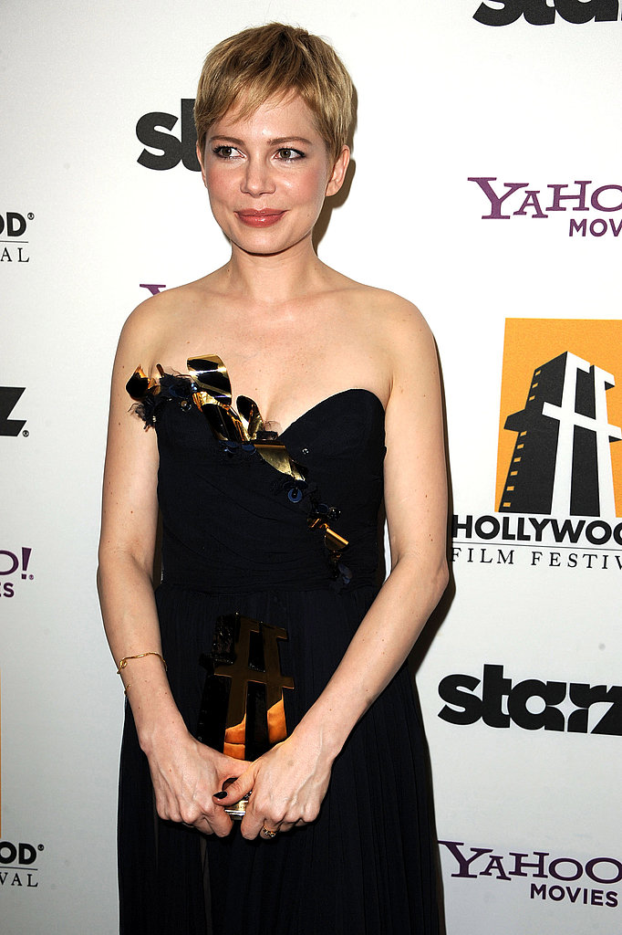 Michelle Williams held her Hollywood Actress award.