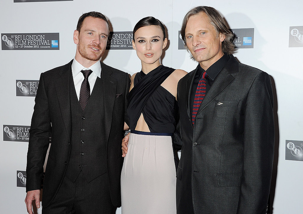 Michael Fassbender, Keira Knightley, and Viggo Mortensen at the 2011 London Film Festival.