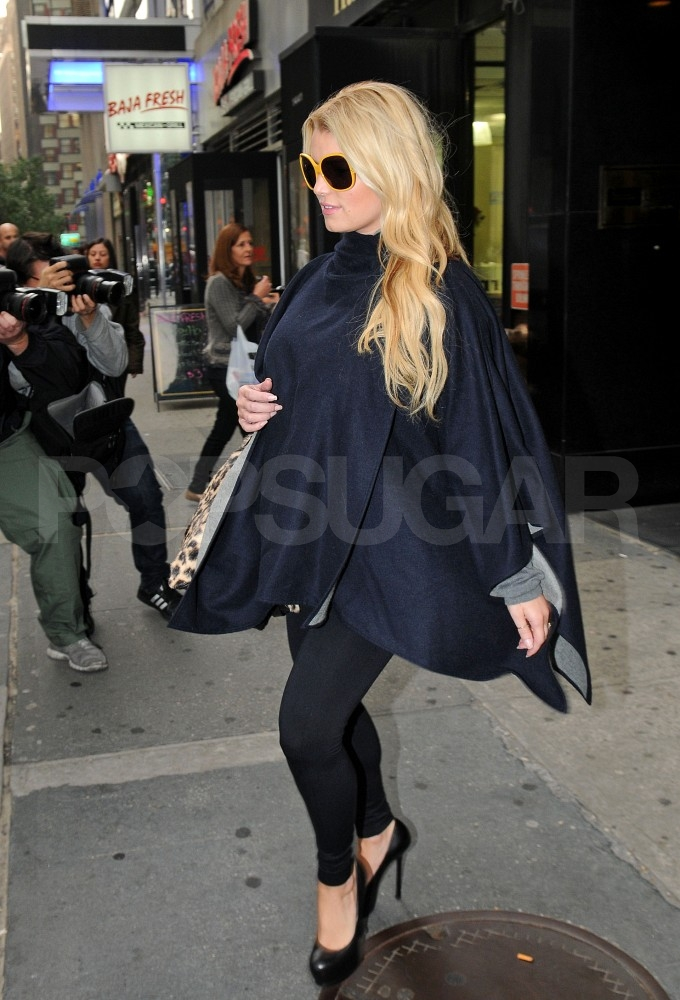 Jessica Simpson wore towering heels in NYC.
