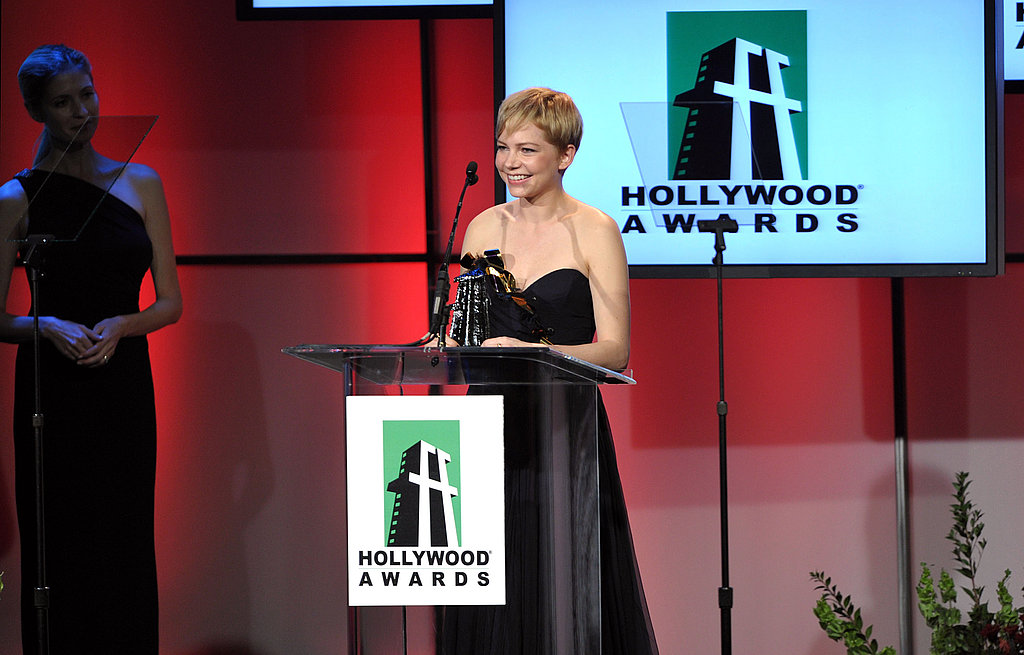 Michelle Williams in a strapless gown.