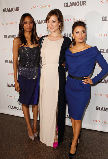 Olivia Wilde, Eva Longoria, and Zoe Saldana on the red carpet.