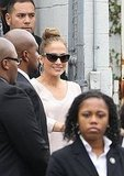 Jennifer Lopez wore trendy sunglasses.