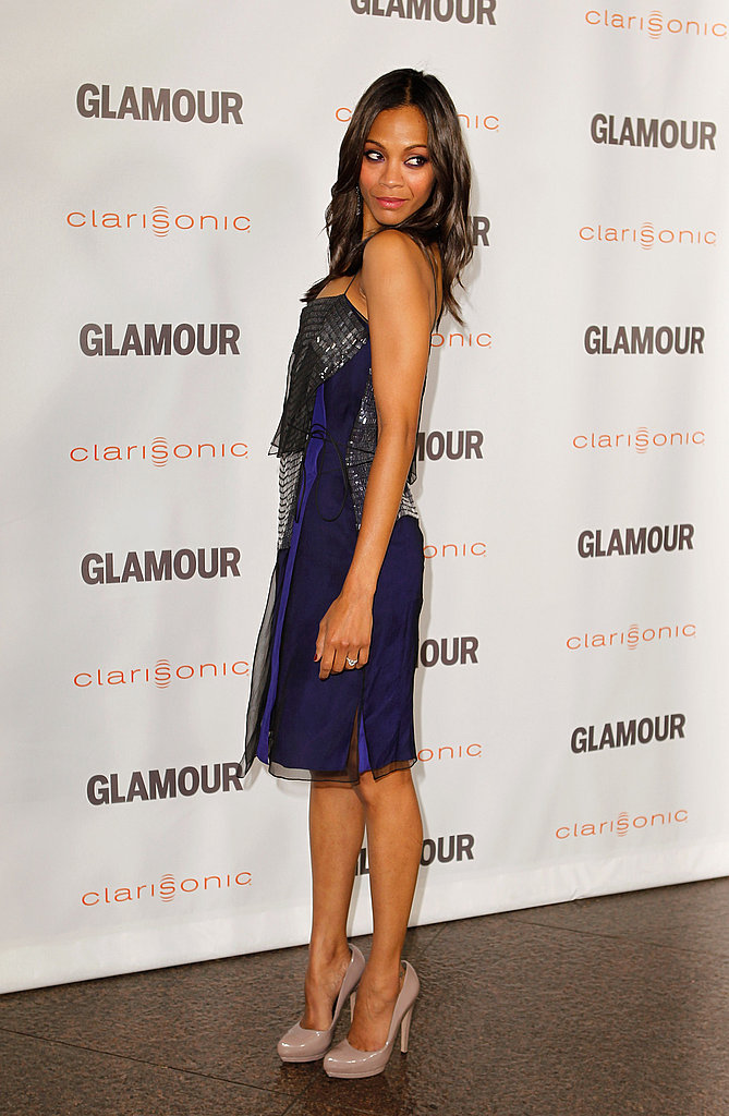 Zoe Saldana gave a peek at the back of her dress for Glamour's Reel Moments.