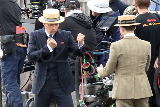 Tobey Maguire as Nick Carraway, and Joel Edgerton as Tom Buchanan on the set of The Great Gatsby.
