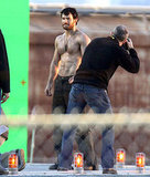 Shirtless Henry Cavill waited for filming to begin on Man of Steel.