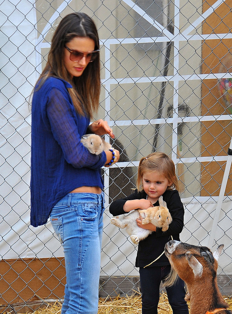 Alessandra Ambrosio and Anja Mazur held bunnies.
