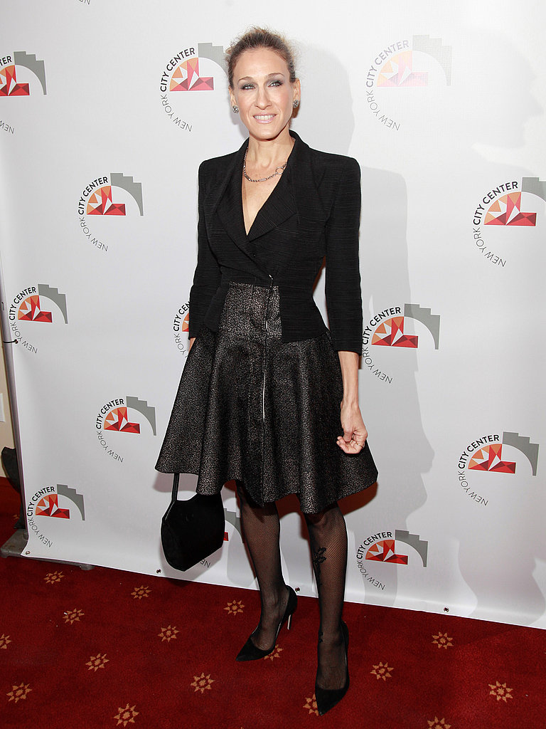 Sarah Jessica Parker looked pretty in textured basics.