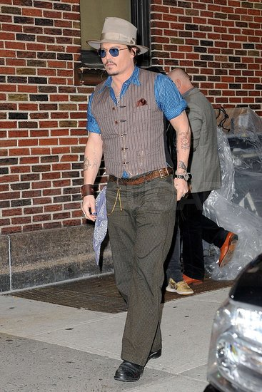 Johnny Depp Swings By David Letterman's Studio
