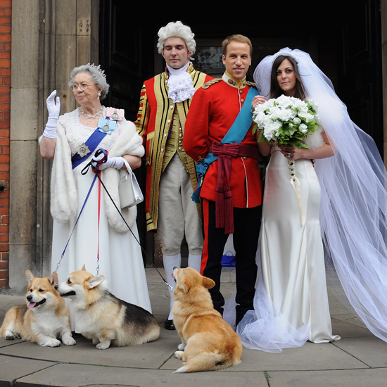 This group of look-alikes pulls off the royal wedding party.