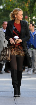 Blake Lively in Sequin Marc Jacobs Sweater and Print Haute Hippie Skirt