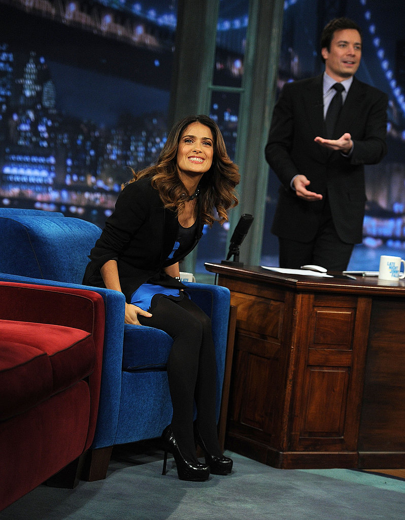 Jimmy Fallon invited Salma Hayek to play a game of beer pong.