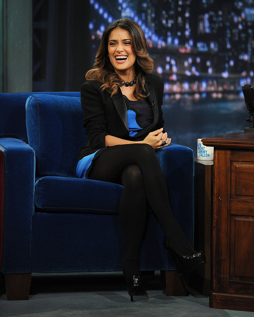 Salma Hayek stopped by Jimmy Fallon's studios.