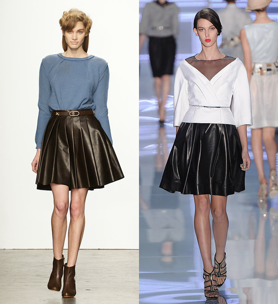 Leather skirts with fuller silhouettes have turned up repeatedly on the runways of recent seasons. Here, looks from Rachel Comey Fall 2011 (left) and Dior Spring 2012 (right).