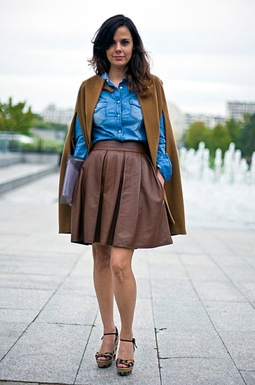 This luxe brown style was paired with denim in Paris.  Shop the look:  Photo Courtesy  of Phil Oh