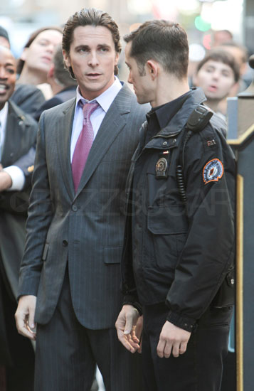 Christian Bale as Bruce Wayne and Joseph Gordon-Levitt as John Blake on the set of The Dark Knight Rises.