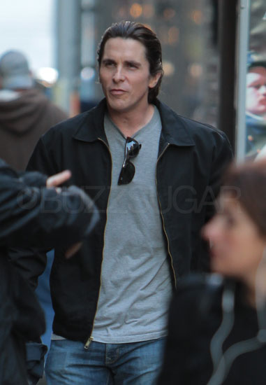 Christian Bale on the set of The Dark Knight Rises.