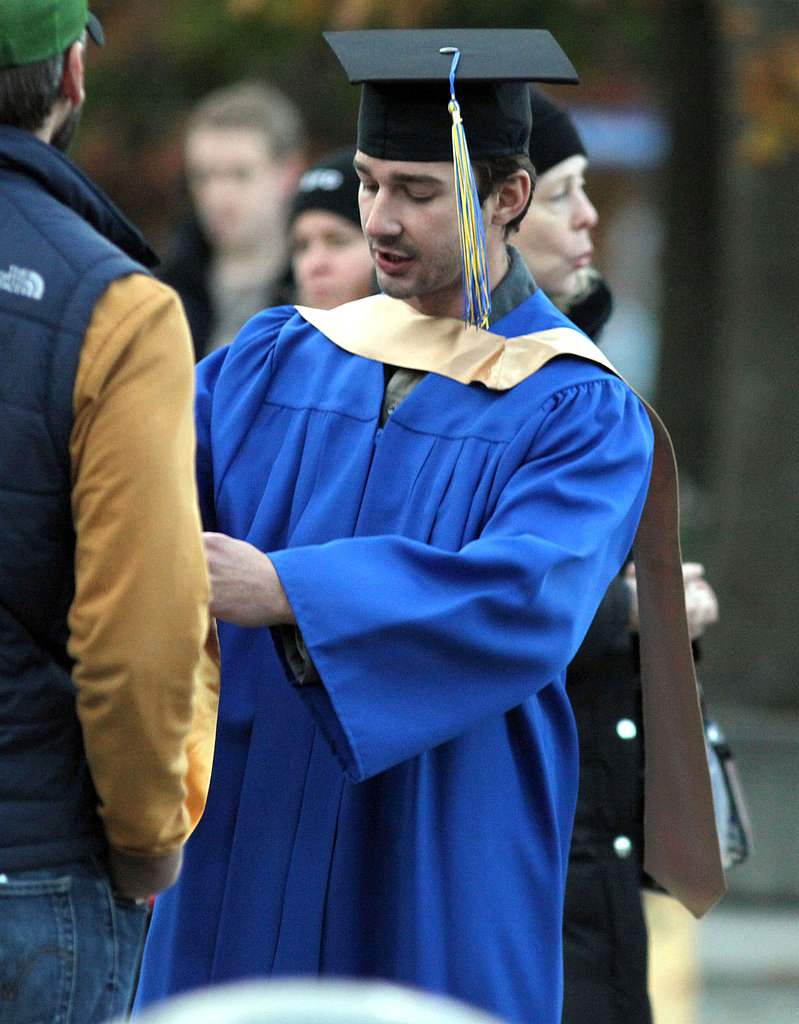 Shia LaBeouf hid his curly locks under a graduation cap.