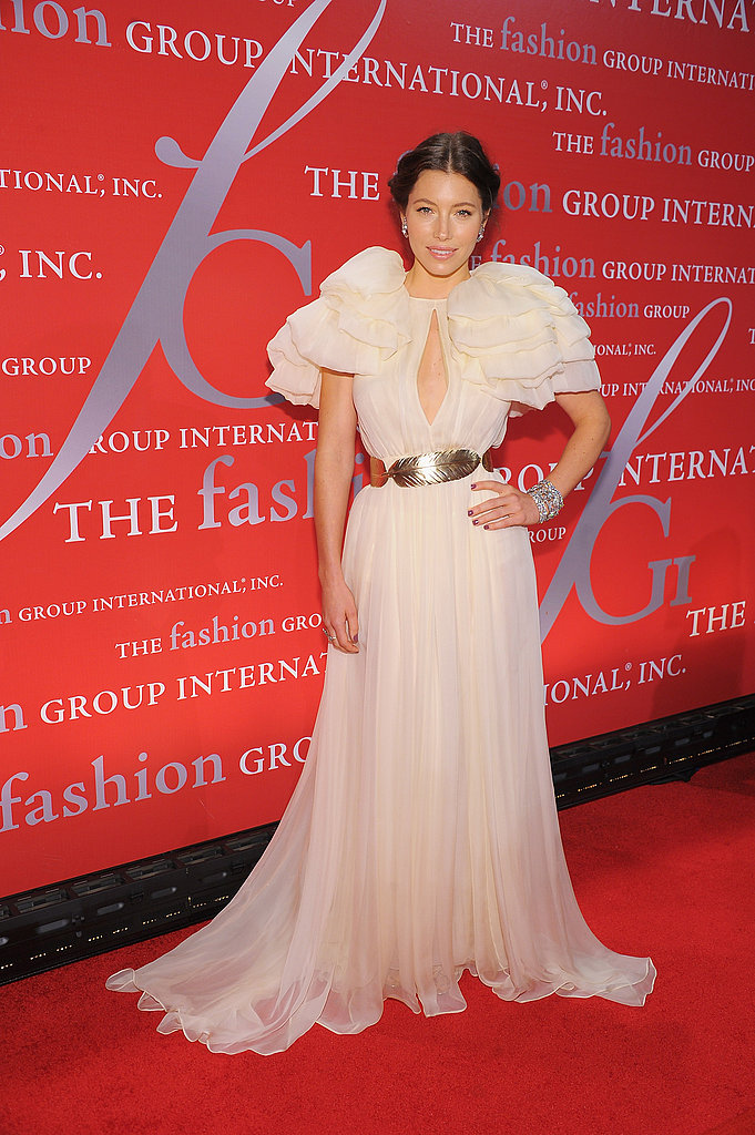 Jessica Biel wore Giambattista Valli to the Night of Stars at Cipriani Wall Street.
