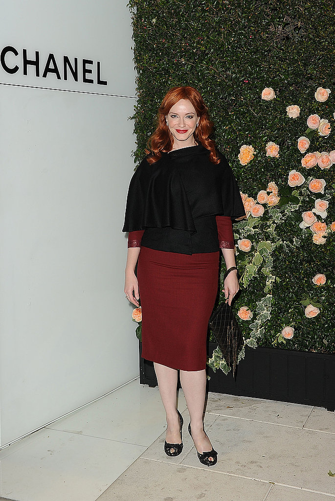 Christina Hendricks struck a pose at the Chanel party.