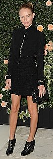 Kate Bosworth in Chanel Tweed Skirt and Lace-Up Booties
