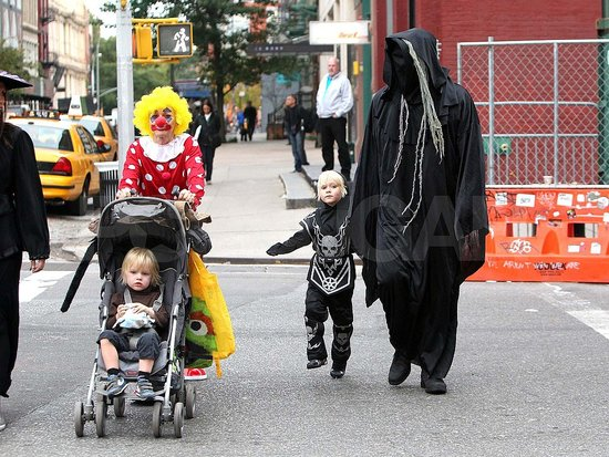 The Watts-Schreiber family in Halloween costumes.