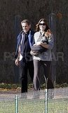 Carla Bruni and Nicolas Sarkozy went for a walk with infant Giulia Sarkozy.