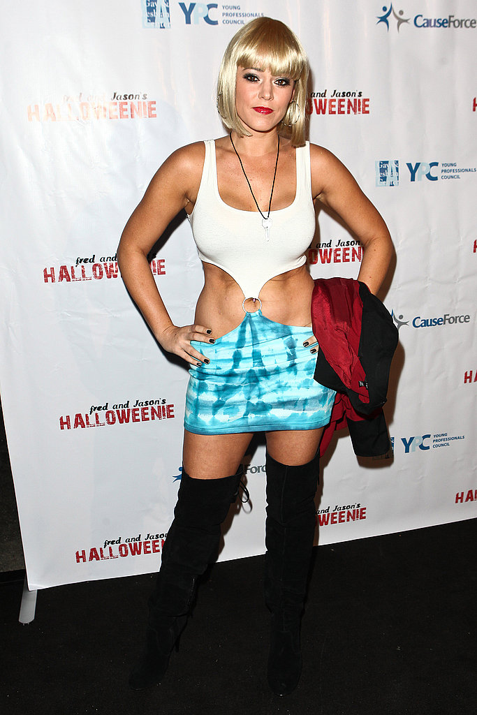Krisily Kennedy attends the Halloweenie party as Julia Roberts in Pretty Woman.