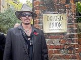Johnny Depp outside the Oxford Union.