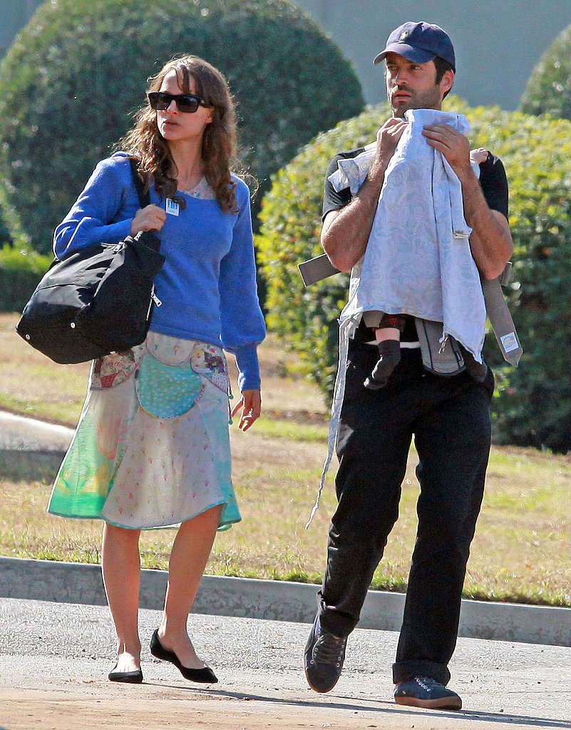 Natalie Portman with fiancé Benjamin Millepied and son Aleph Millepied.