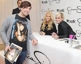 Jessica Simpson and Ashlee Simpson sign autographs for fans.