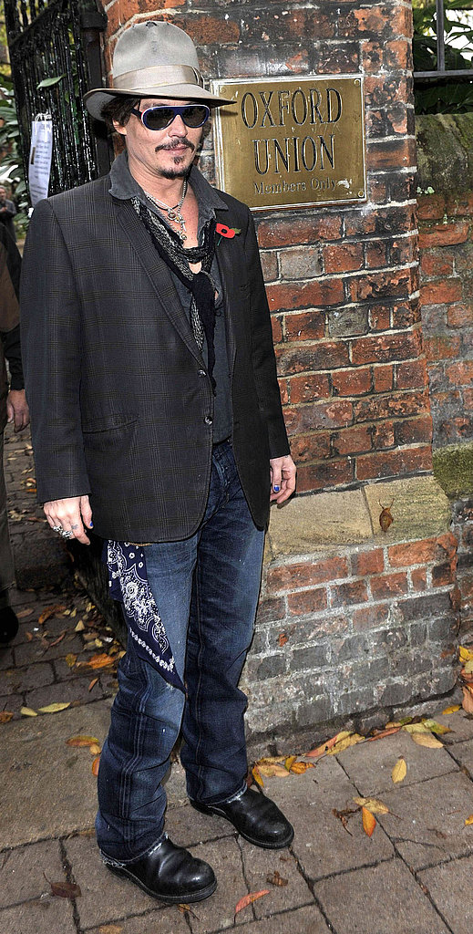 Johnny Depp ready for a Q&A session in Oxford, England.
