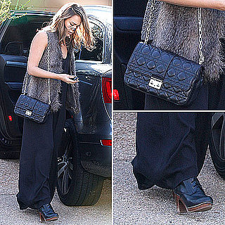 Jessica Alba Wearing a Fur Vest November 1, 2011