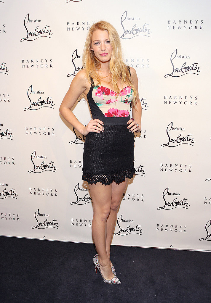 Blake Lively delighted photographers with an appearance at Christian Louboutin's party in NYC.