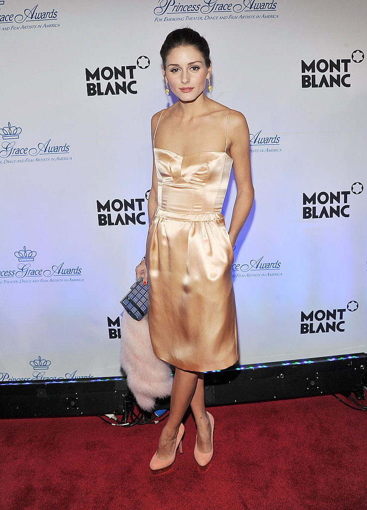 Olivia Palermo in a satin dress.
