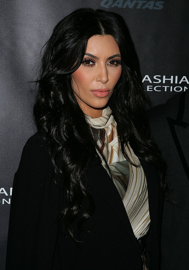 Kim Kardashian wore a printed dress.