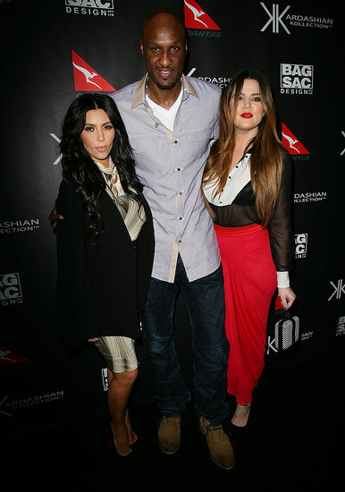 Kim and Khloe Kardashain posed with Lamar Odom in Sydney.