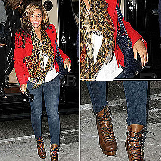 Pregnant Beyoncé Wearing Leopard Print and Red November 2011