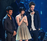 Robert Pattinson and Kristen Stewart stood on stage with Taylor Lautner at the September 2009 VMAs in NYC.