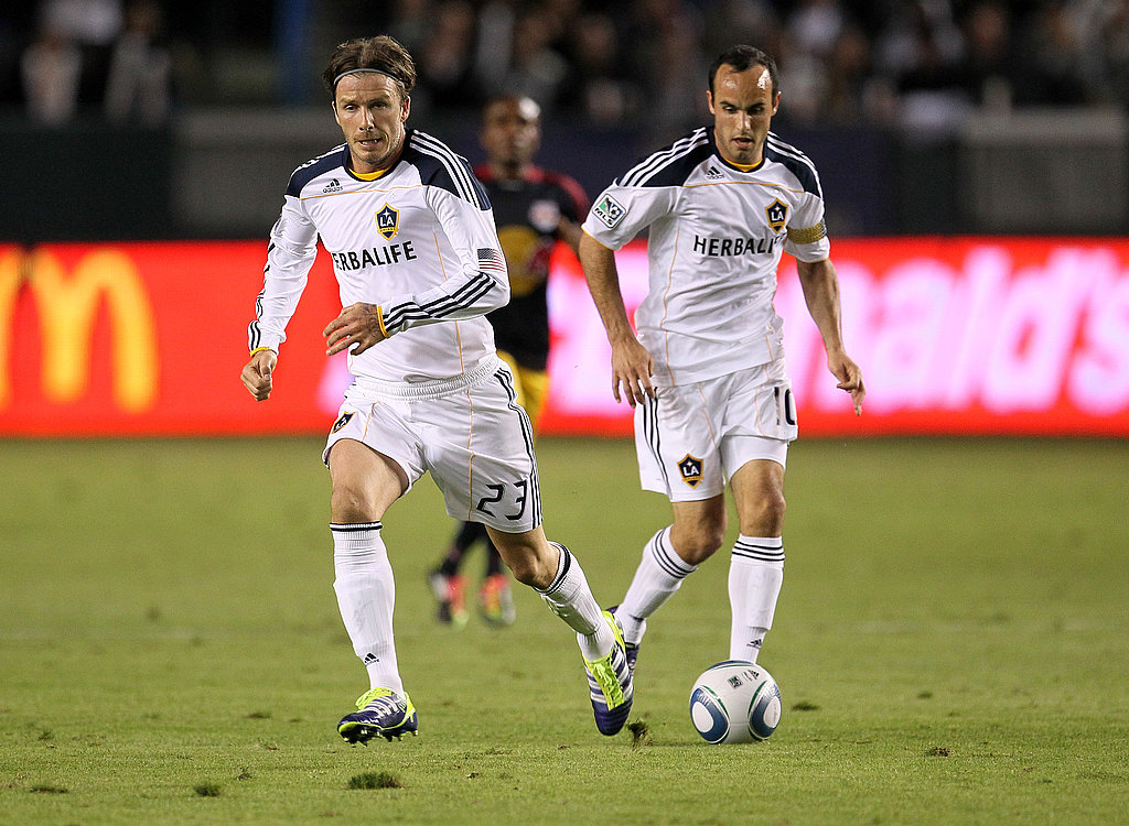 David Beckham ran ahead of teammate Landon Donovan.
