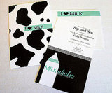 Milk Bottle and Cow Print Baby Shower Invitation