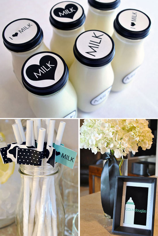 Coed Black and White Baby Shower