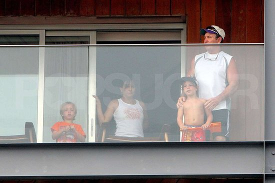 Lynn Spears joined her husband, Jamie, and her grandchildren Sean Preston and Jayden James Federline on their balcony.