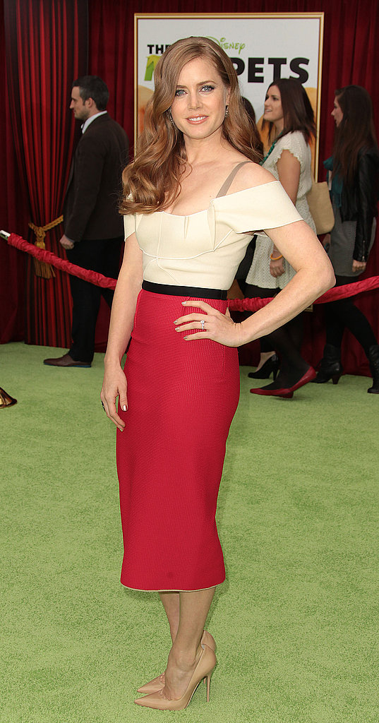 Amy Adams and Miss Piggy both arrived in shades of red.