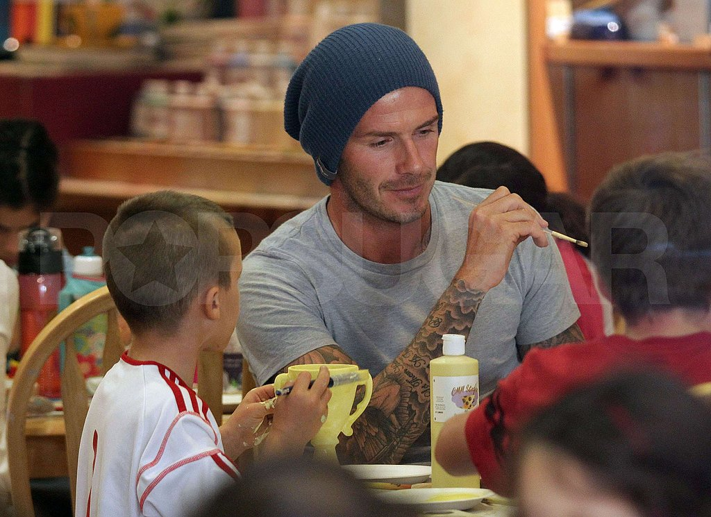 David Beckham painted with his son, Cruz.